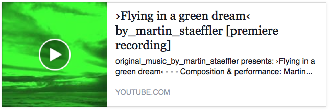 YOUTUBE ›Flying in a green dream‹